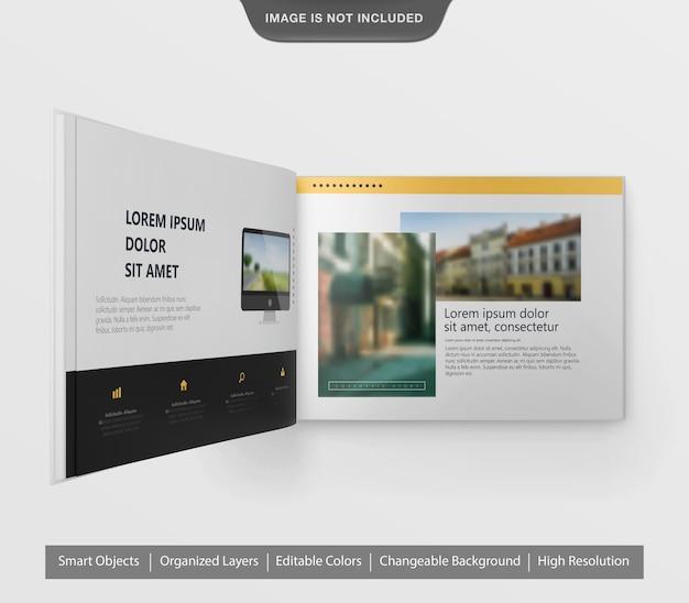 驚くべき現実的な風景のパンフレットやチラシのモックアップ