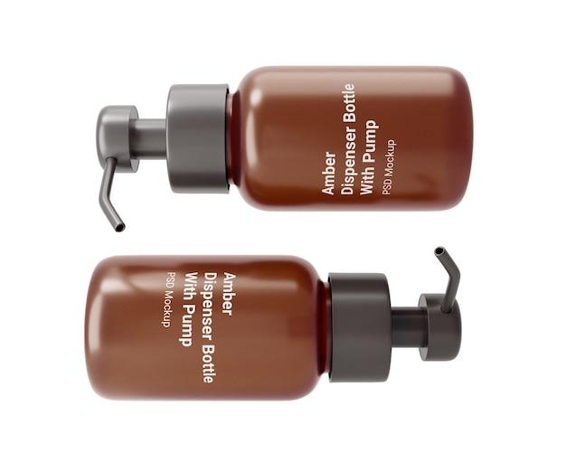 ポンプモックアップ付き琥珀色のディスペンサーボトル