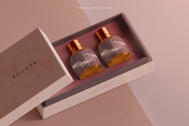 Mockup di bottiglia cosmetica in vetro ambrato
