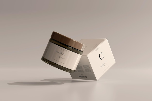 앰버 유리 화장품 용기 및 상자 모형 무료 PSD 파일