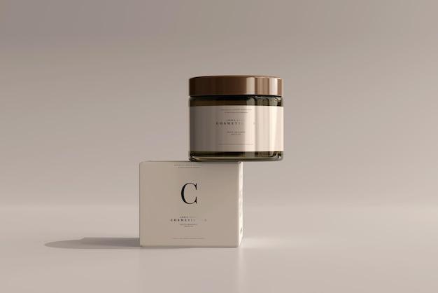 琥珀色のガラス化粧ジャーとボックスのモックアップ Premium Psd