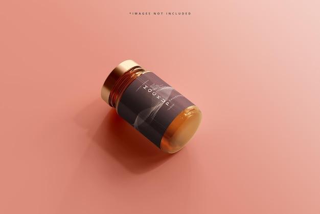琥珀色のガラス化粧品の瓶のモックアップ