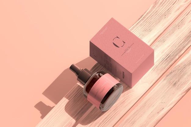 앰버 유리 화장품 스프레이 병 및 상자 모형