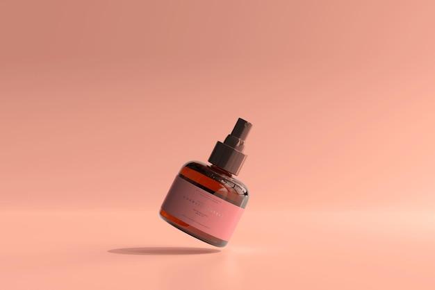 琥珀色のガラス化粧品スプレーボトルのモックアップ