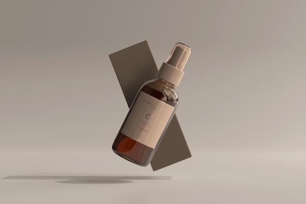 상자 모형이있는 앰버 유리 화장품 스프레이 병
