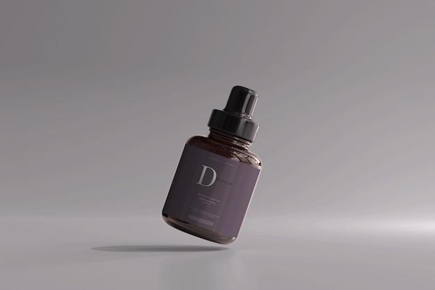 琥珀色のガラススポイトボトルのモックアップ