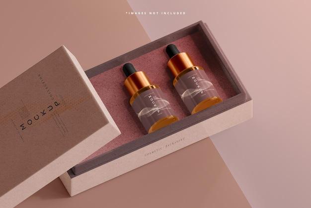 Mockup di bottiglia contagocce in vetro ambrato