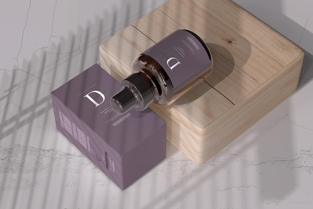 Amber glass dropper bottle with box mockup