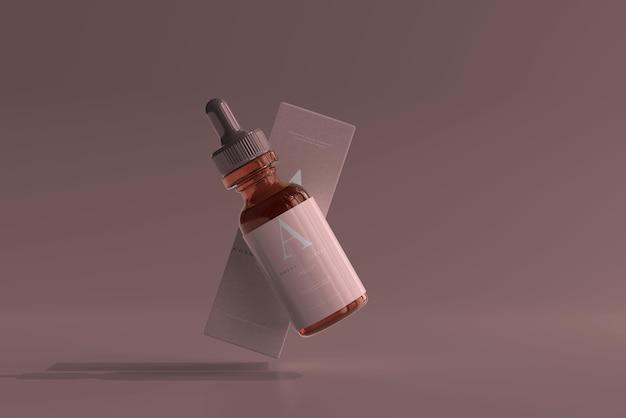 Янтарная стеклянная бутылка-капельница с макетом коробки
