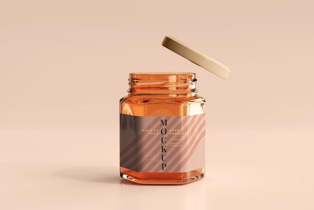 琥珀色のガラス瓶のモックアップ