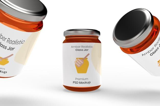 琥珀色のガラス瓶のモックアップ 無料 Psd