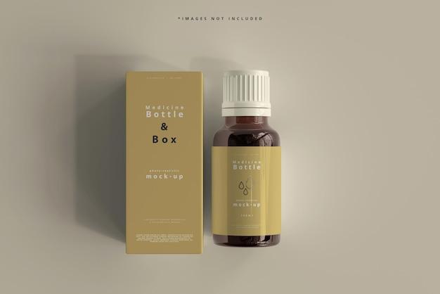 호박색 유리 약 병 및 상자 모형