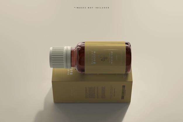 Amber glass medicine bottle and box mockup