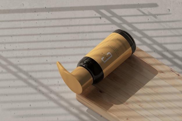 앰버 유리 펌프 병 모형