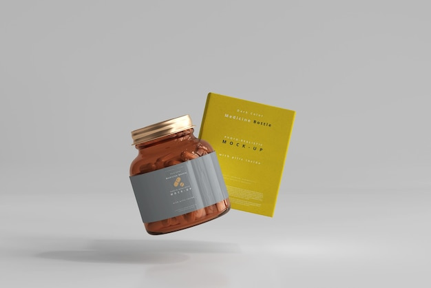 Мокап бутылки и коробки с янтарной медициной