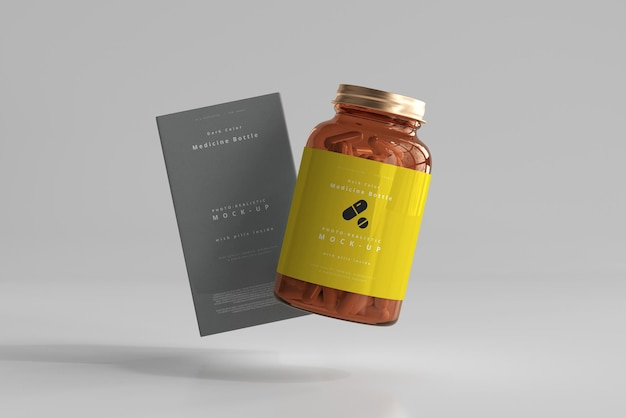 Amber medicine bottle and box mockup