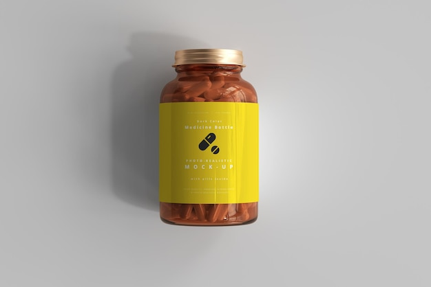 Мокап янтарной бутылки с лекарством