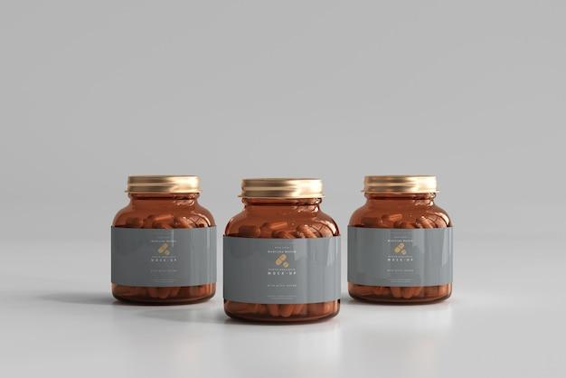 Mockup di bottiglie di medicina color ambra