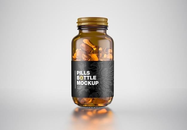 Мокап бутылки с янтарными таблетками