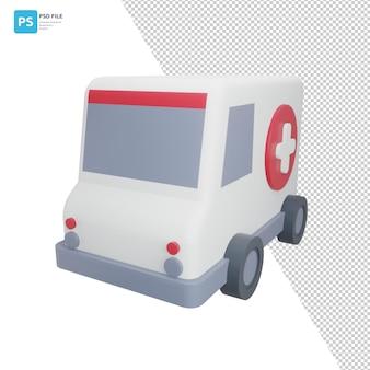 Ambulance in 3d illustration design assets