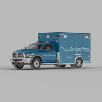 Ambulance front half side view mockup isolated