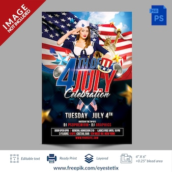 American 4th of july celebration party flyer photoshop template
