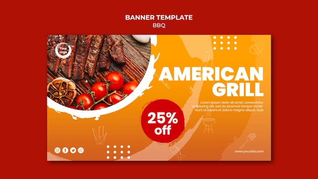 American bbq and grill house banner template