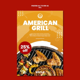 American bbq and grill house flyer template