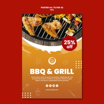 American bbq and grill house poster template