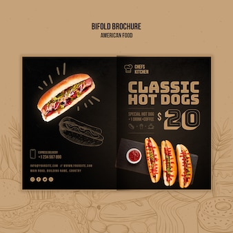 American classic hot dogs bifold brochure