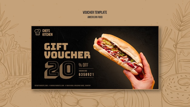 American classic hot dogs voucher template