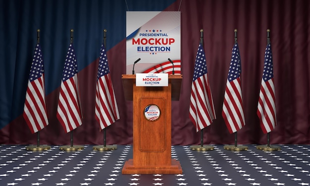 American election podium with flags