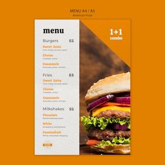 Американское меню быстрого питания и картофеля фри