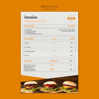 American fast food and fries combo invoice