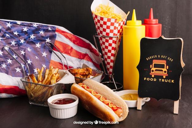 American fast food mockup