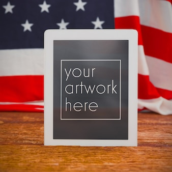 American flag and digital tablet mockup