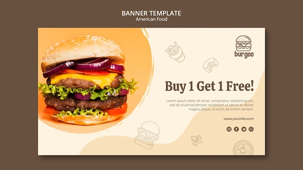 American food banner template concept