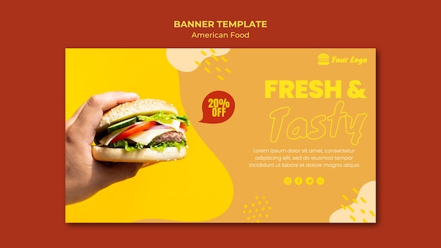 American food banner template theme
