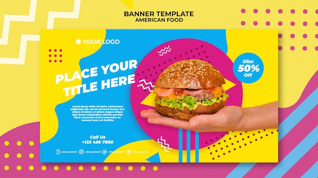 American food banner template with photo