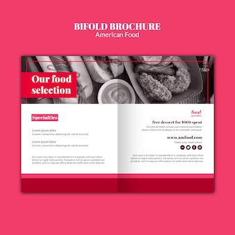 American food bifold brochure template