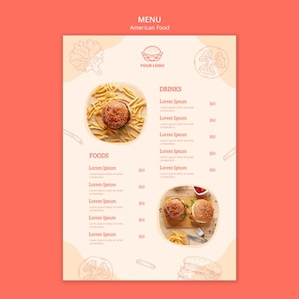 American food concept menu style