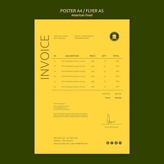 American food concept poster template