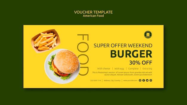American food concept voucher template