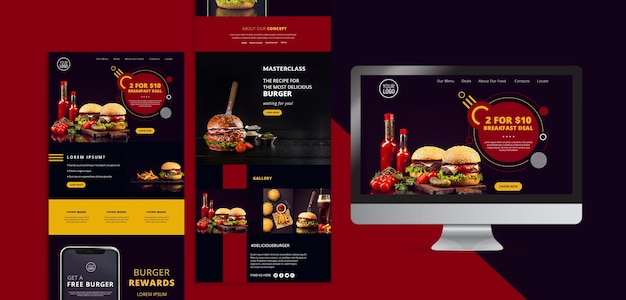 American food design stationery Free Psd