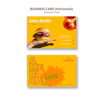 American food horizontal business card Free Psd