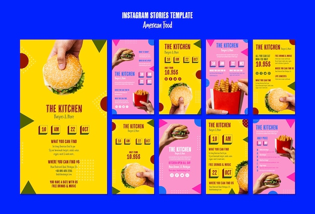 American food instagram stories template