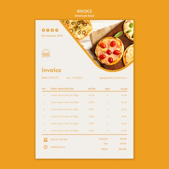 American food invoice template