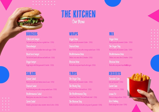 Шаблон меню кухни американской кухни