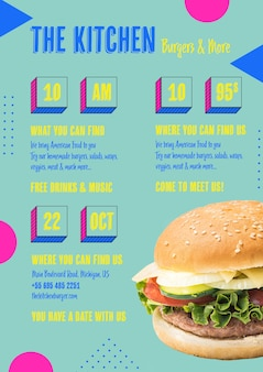 American food kitchen menu with burger