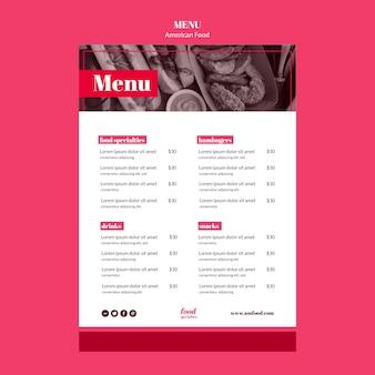 Шаблон меню американской кухни